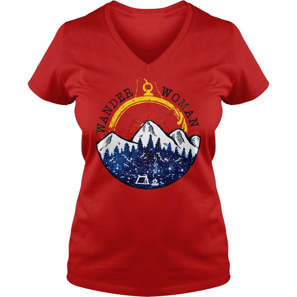 Camping Wander Woman Hiking Vintage shirt lady v-neck