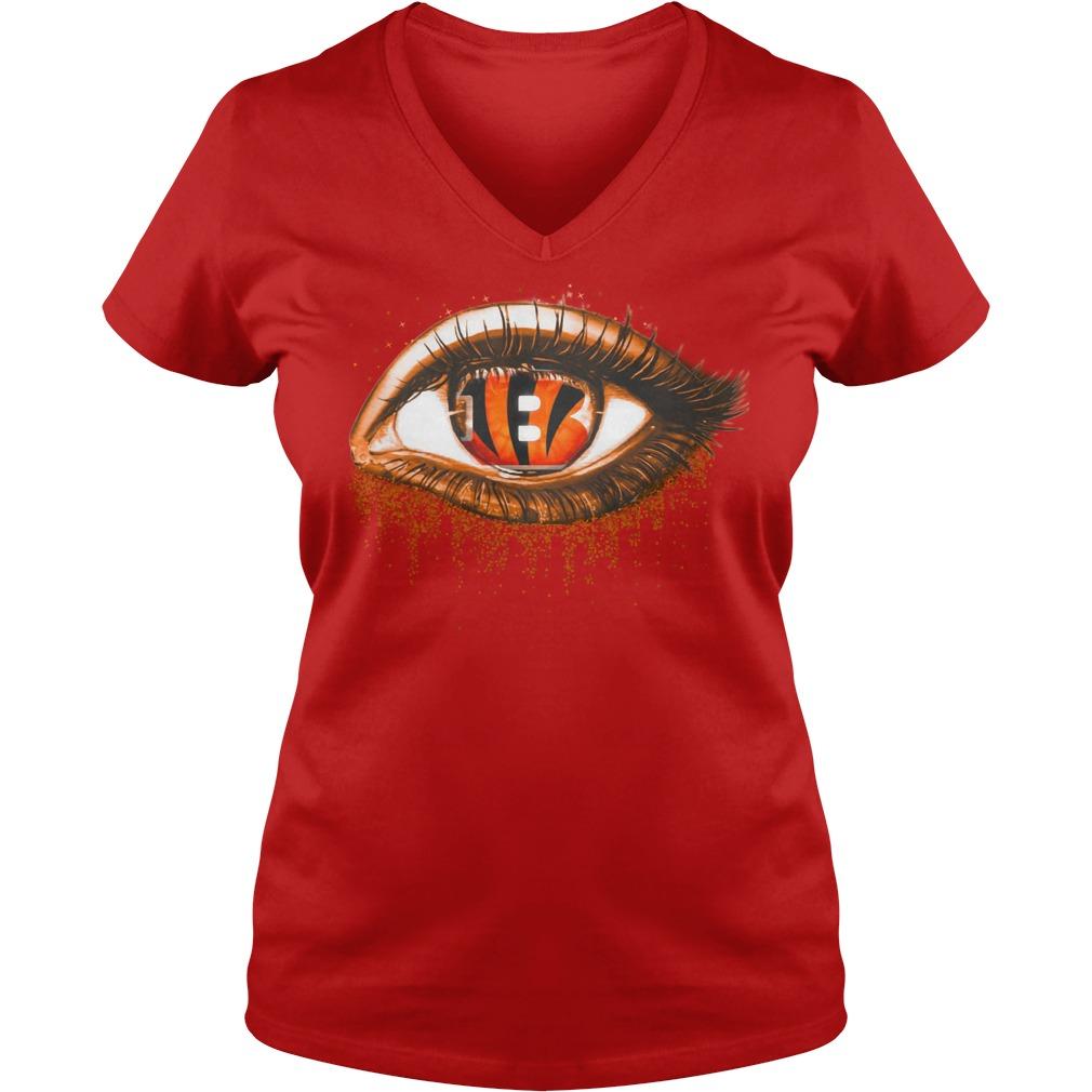 Cincinnati Bengals eye glitter shirt lady v-neck