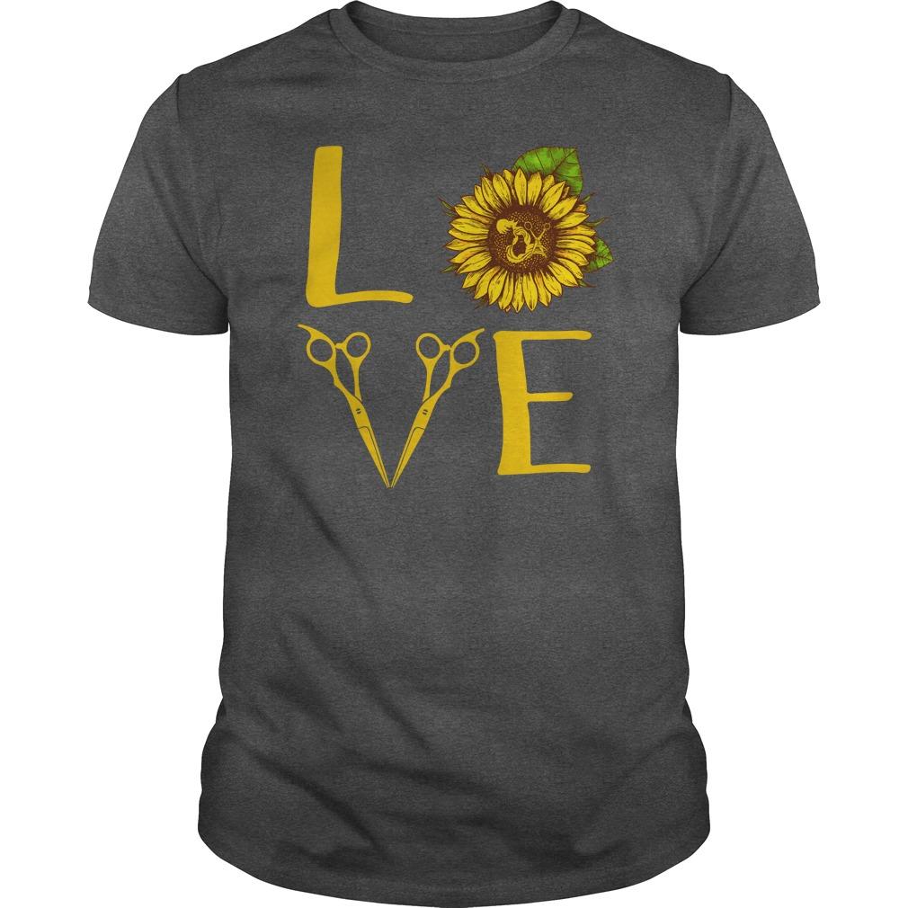 Hair stylist love sunflower shirt guy tee