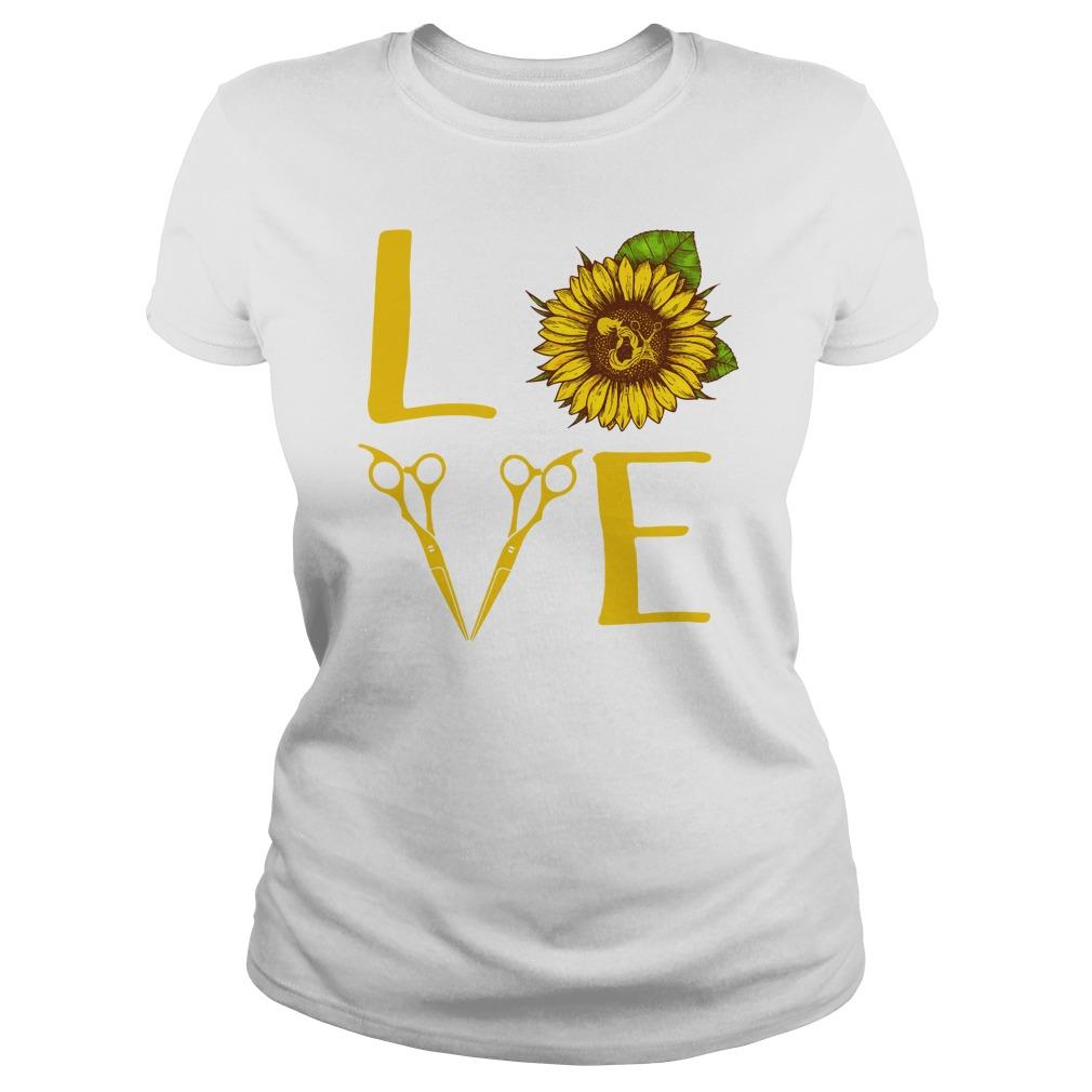 Hair stylist love sunflower shirt lady tee