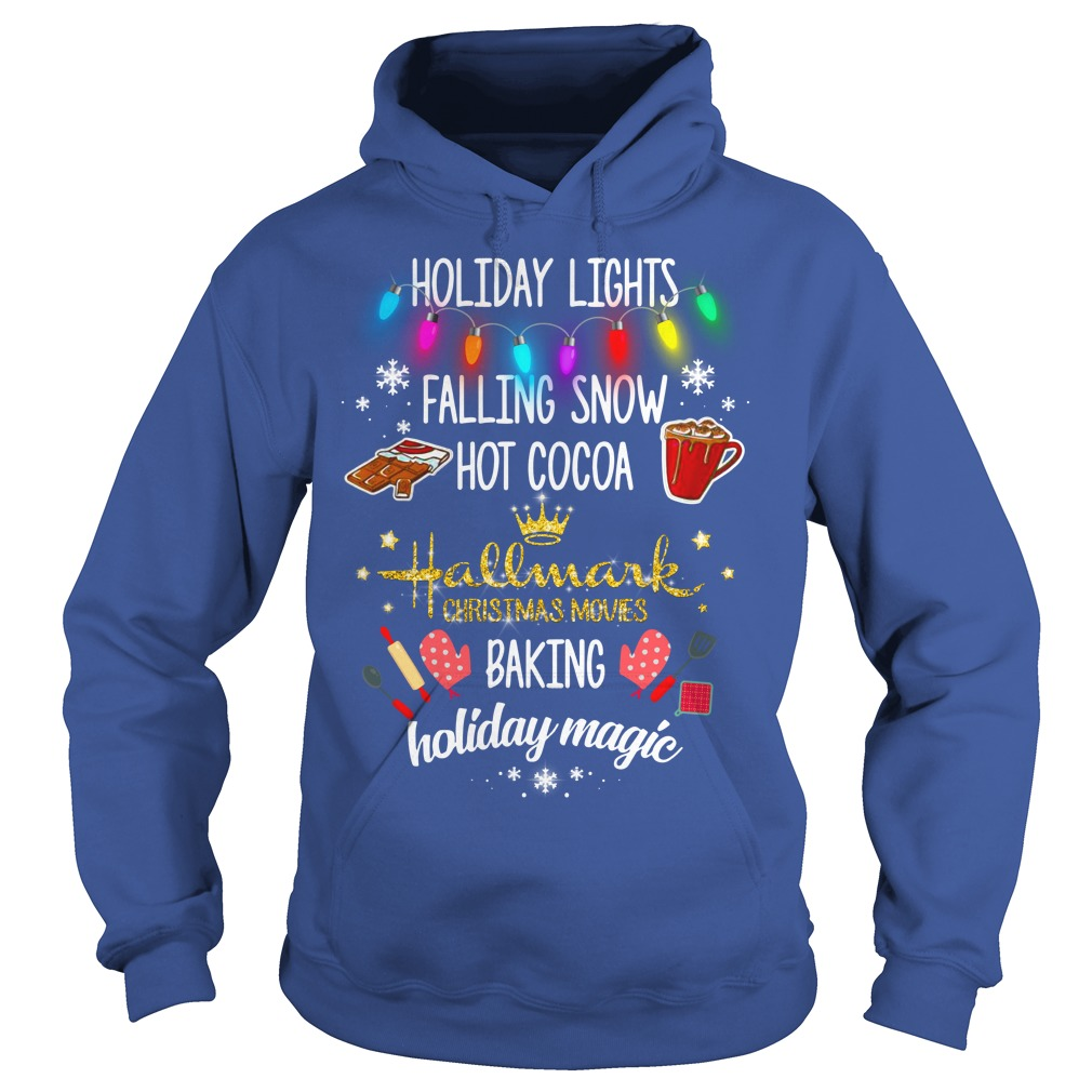 Holiday lights falling snow hot cocoa hallmark christmas movie shirt hoodie