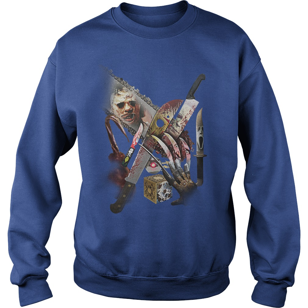 Horror movie villains weapons shirt sweat shirt