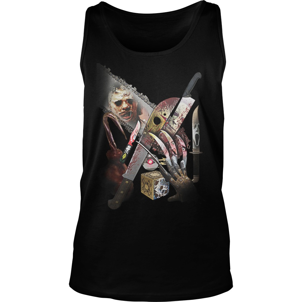 Horror movie villains weapons shirt unisex tank top