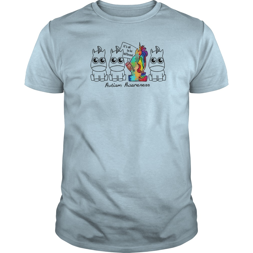 It's ok to be different Autism Awareness Unicorn shirt guy tee