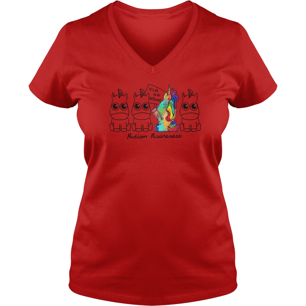 It's ok to be different Autism Awareness Unicorn shirt lady v-neck