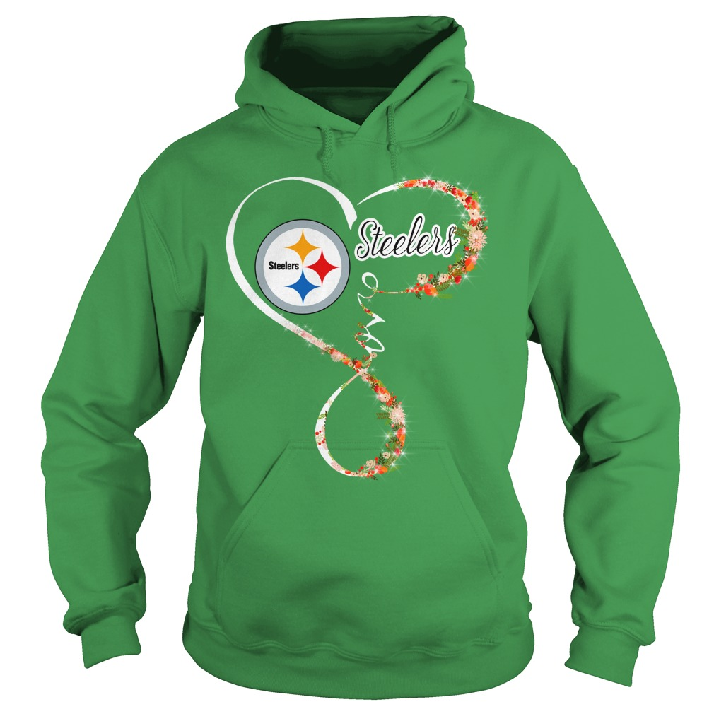 Love Pittsburgh Steelers Heart For Football and Flower Lovers shirt hoodie