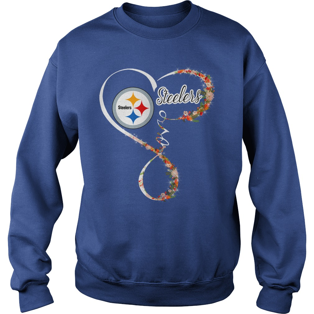 Love Pittsburgh Steelers Heart For Football and Flower Lovers shirt sweat shirt