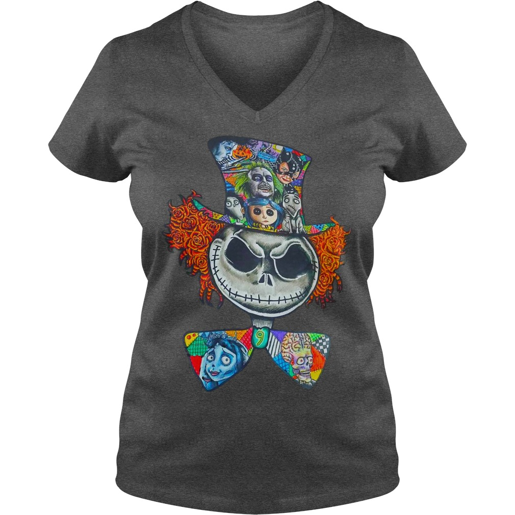 Mad Hatter Jack Skellington Tim Burtons character shirt lady v-neck
