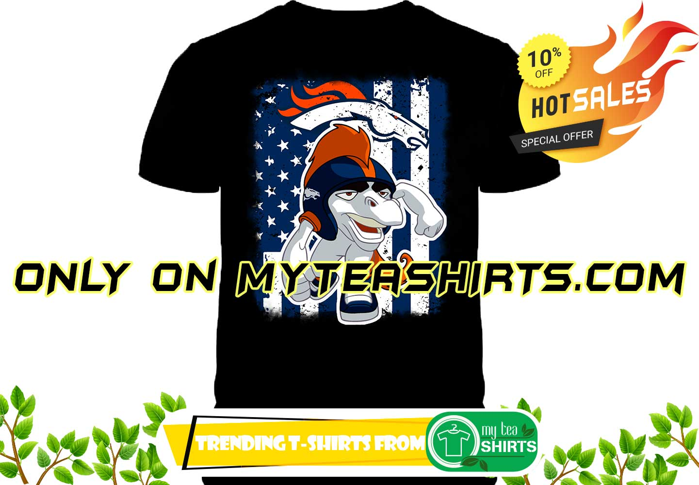 new concept f1a9b df865 Miles Denver Broncos mascot american flag shirt, youth tee, lady tee