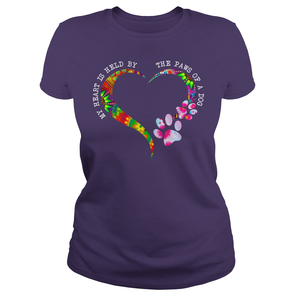 My heart is held by the paws of a dog shirt lady tee