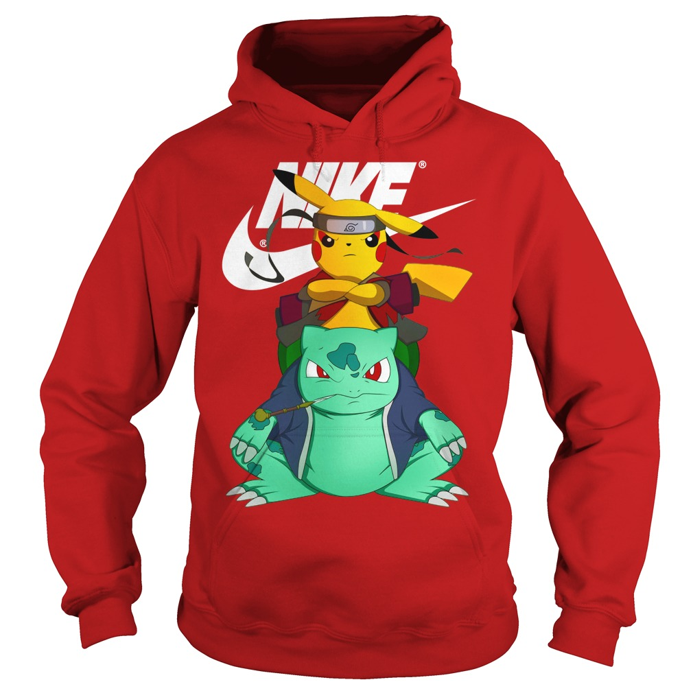 Naruto Pokemon Pikachu Nike shirt hoodie - Pokemon pikachu bulbasaur naruto nike shirt