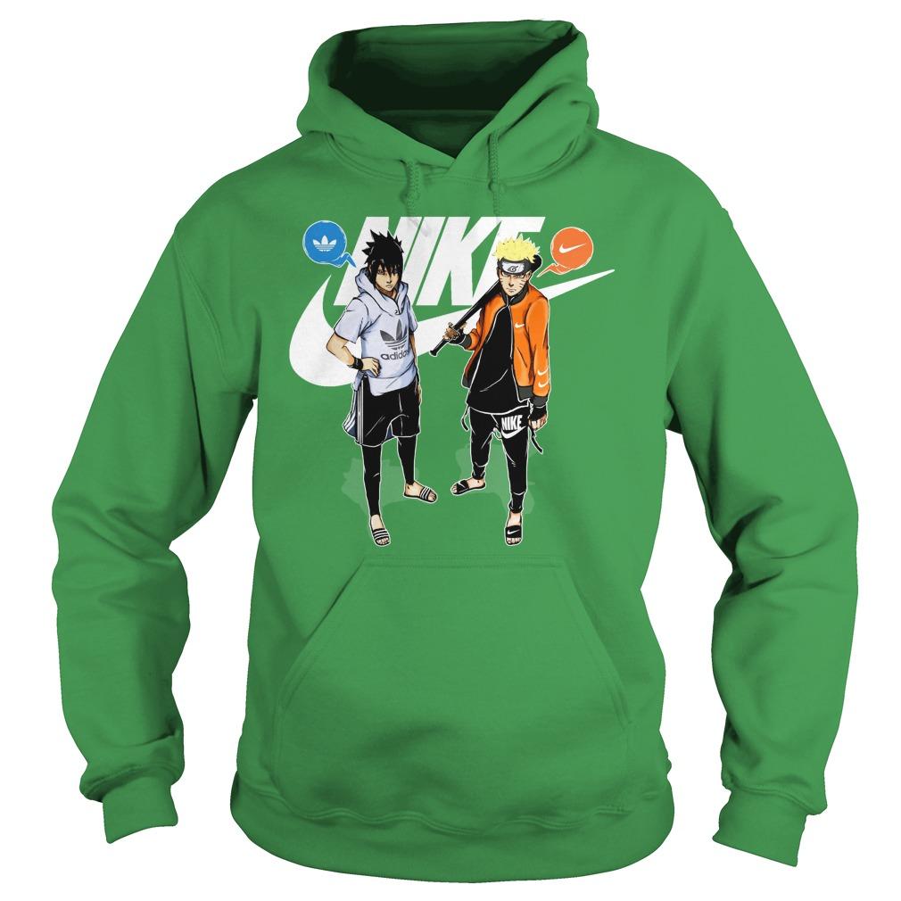 Naruto and Sasuke Adidas and Nike shirt hoodie
