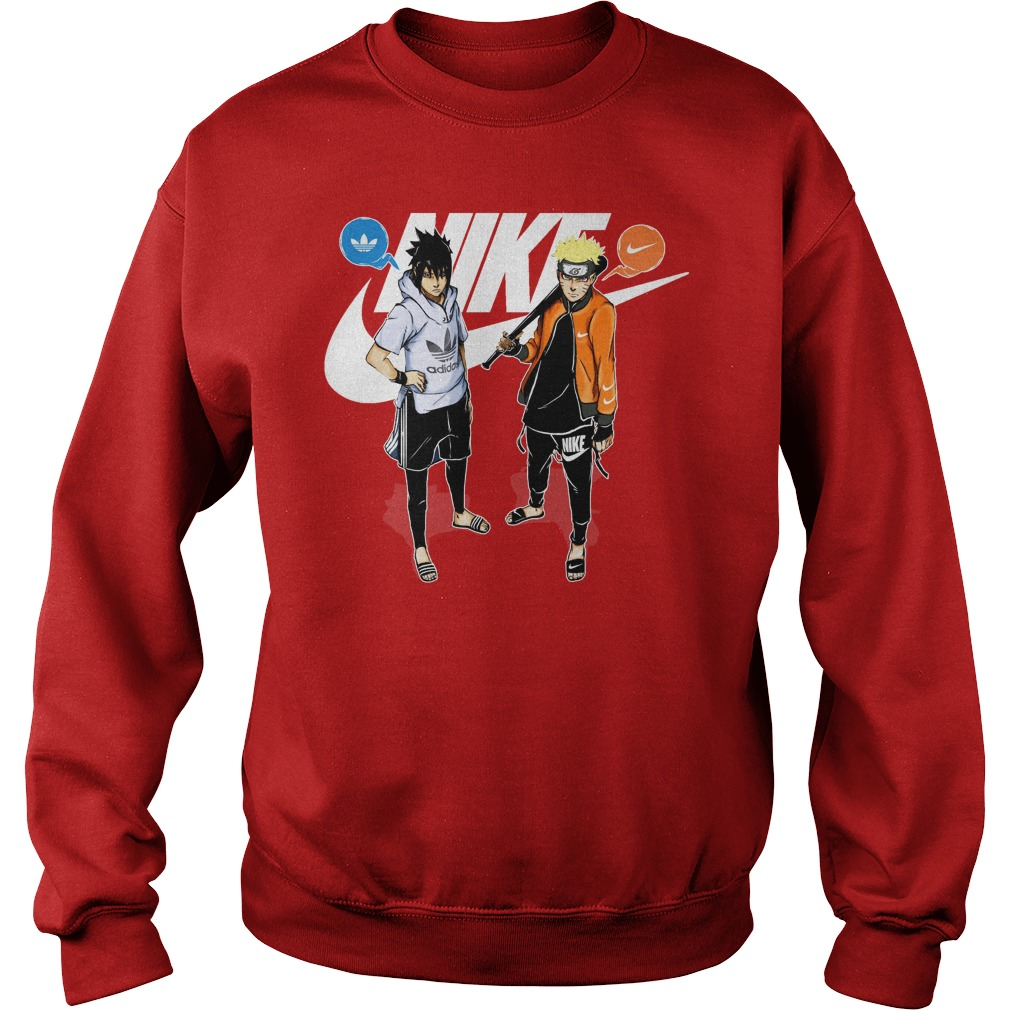 Naruto and Sasuke Adidas and Nike shirt sweat shirt