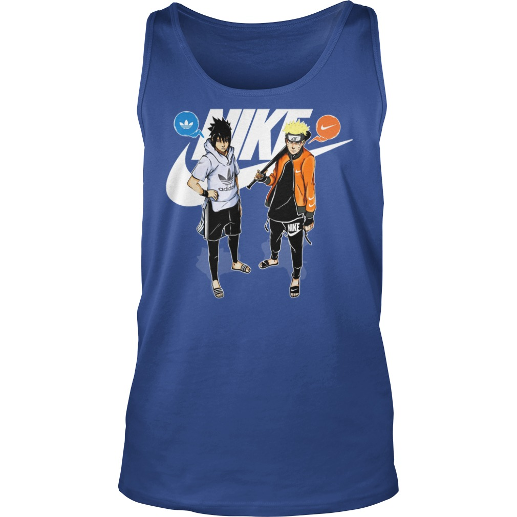 Naruto and Sasuke Adidas and Nike shirt unisex tank top