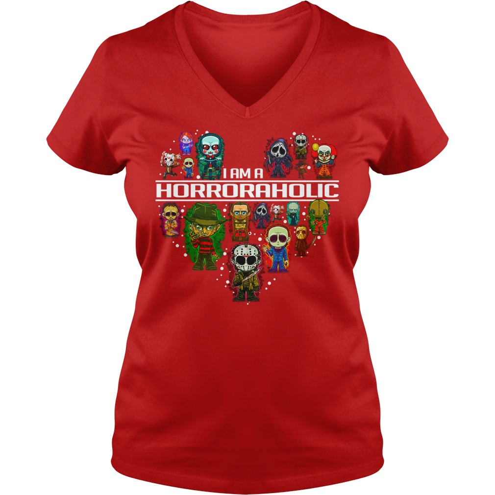 I am a Horror Aholic shirt lady v-neck