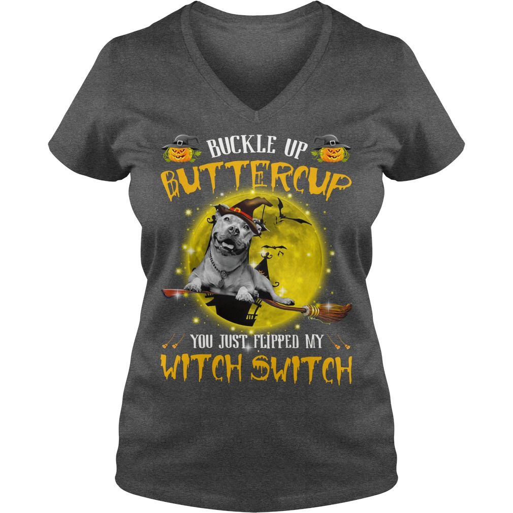Pitbull buckle up buttercup you just flipped my witch switch shirt lady v-neck