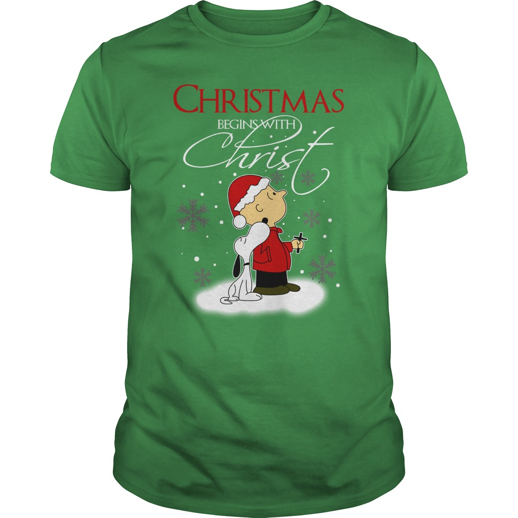 Snoopy and Charlie Brown Christmas begins with Christ shirt guy tee