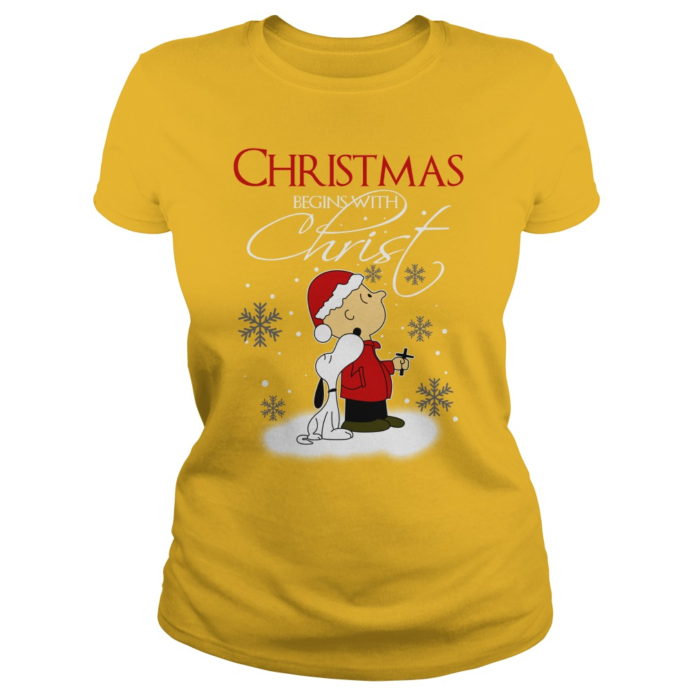 Snoopy and Charlie Brown Christmas begins with Christ shirt lady tee