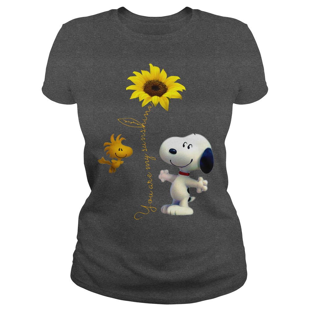 Snoopy and Woodstock You are my sunshine Sunflower shirt lady tee