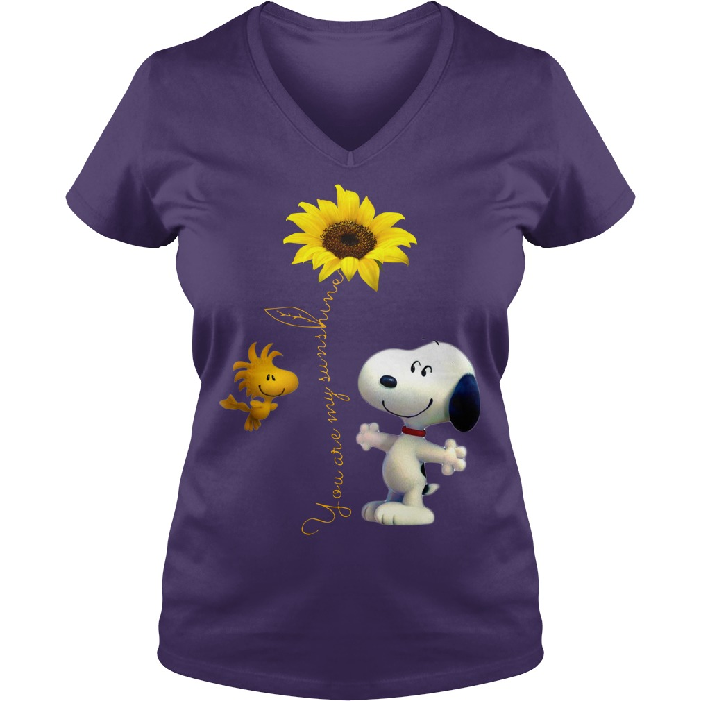 Snoopy and Woodstock You are my sunshine Sunflower shirt lady v-neck