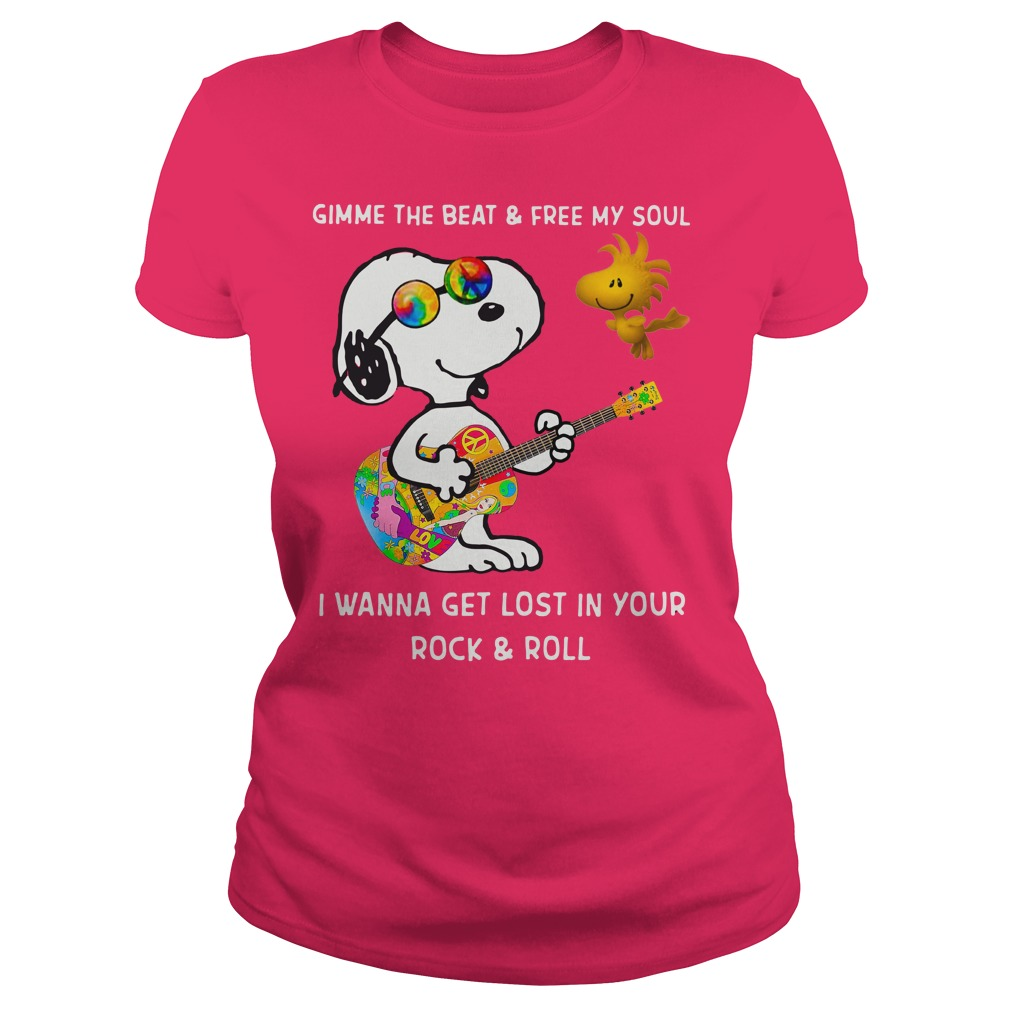 Snoopy and Woodstock gimme the beat and free my soul shirt lady tee