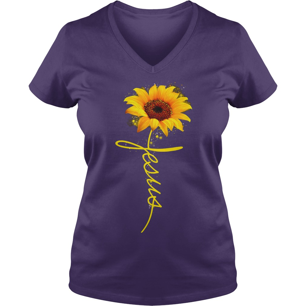 Sunflower Jesus shirt lady v-neck