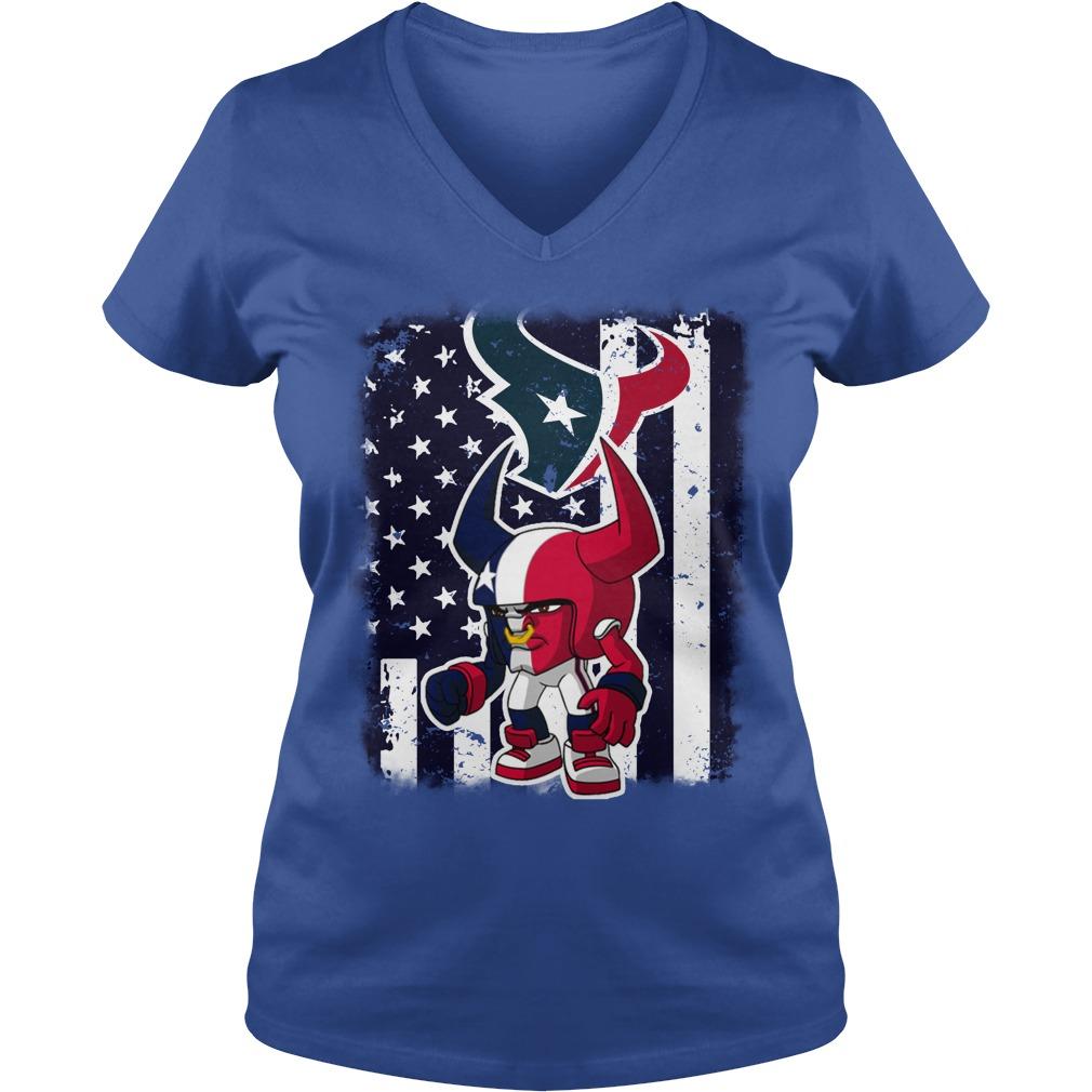 Toro Houston Texans mascot american flag shirt lady v-neck
