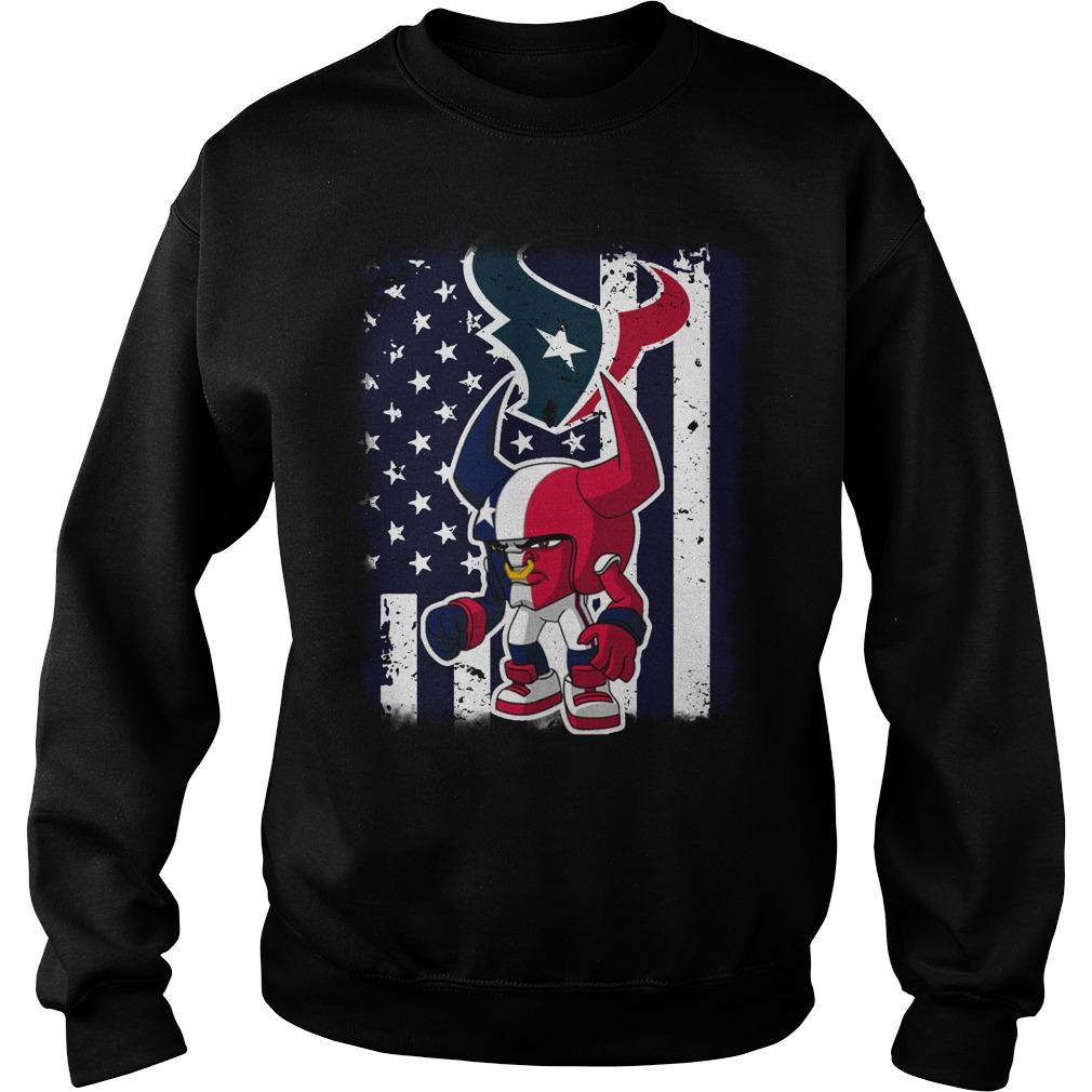 Toro Houston Texans mascot american flag shirt sweat shirt