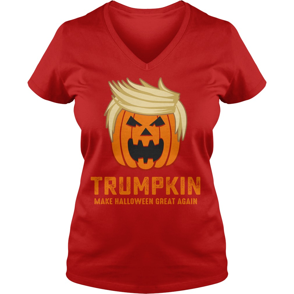 Trumpkin make halloween great again shirt lady v-neck