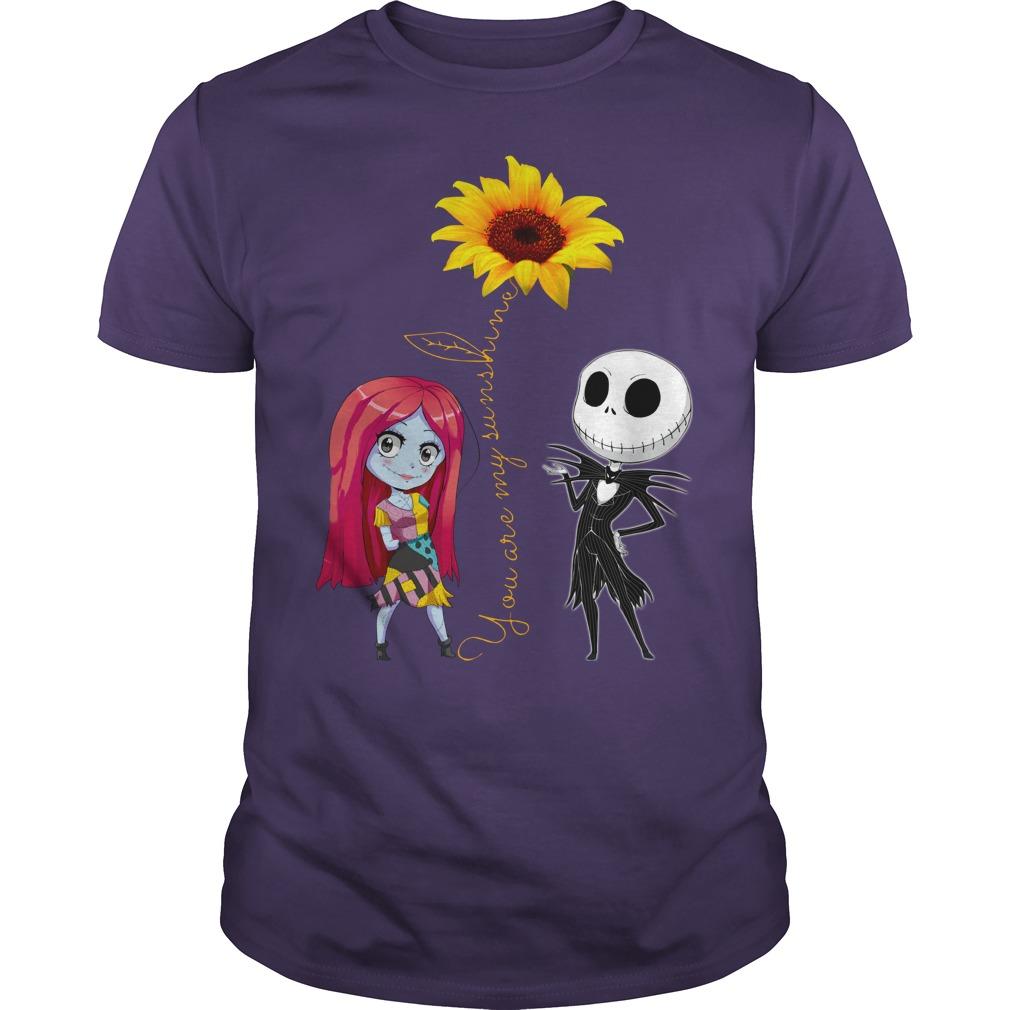 You Are My Sunshine Jack Skellington Sally Sunflower shirt guy tee