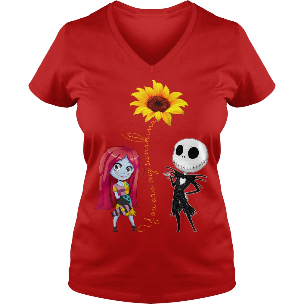 You Are My Sunshine Jack Skellington Sally Sunflower shirt lady v-neck