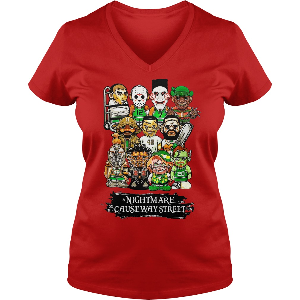 Boston Celtics A nightmare on causeway Street shirt lady v-neck