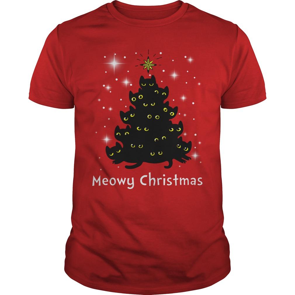 Christmas Meowy Christmas Tree Cat shirt guy tee