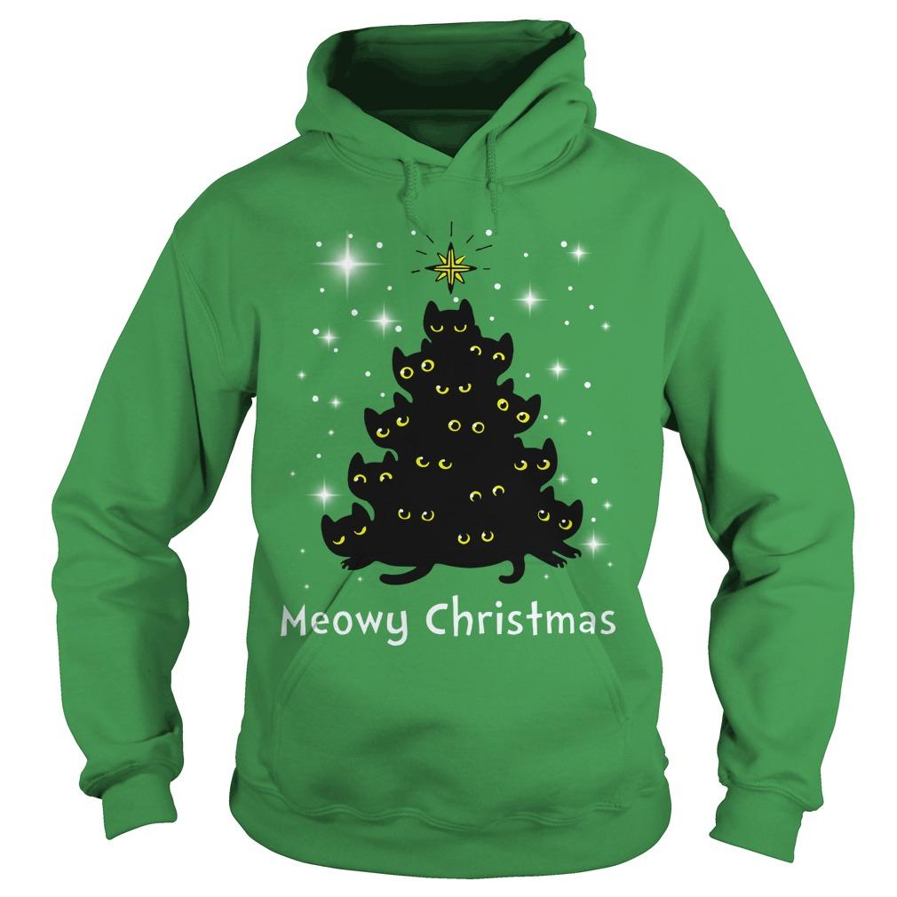 Keep Cat Away From Christmas Tree: Christmas Meowy Christmas Tree Cat Shirt, Hoodie, Guy Tee