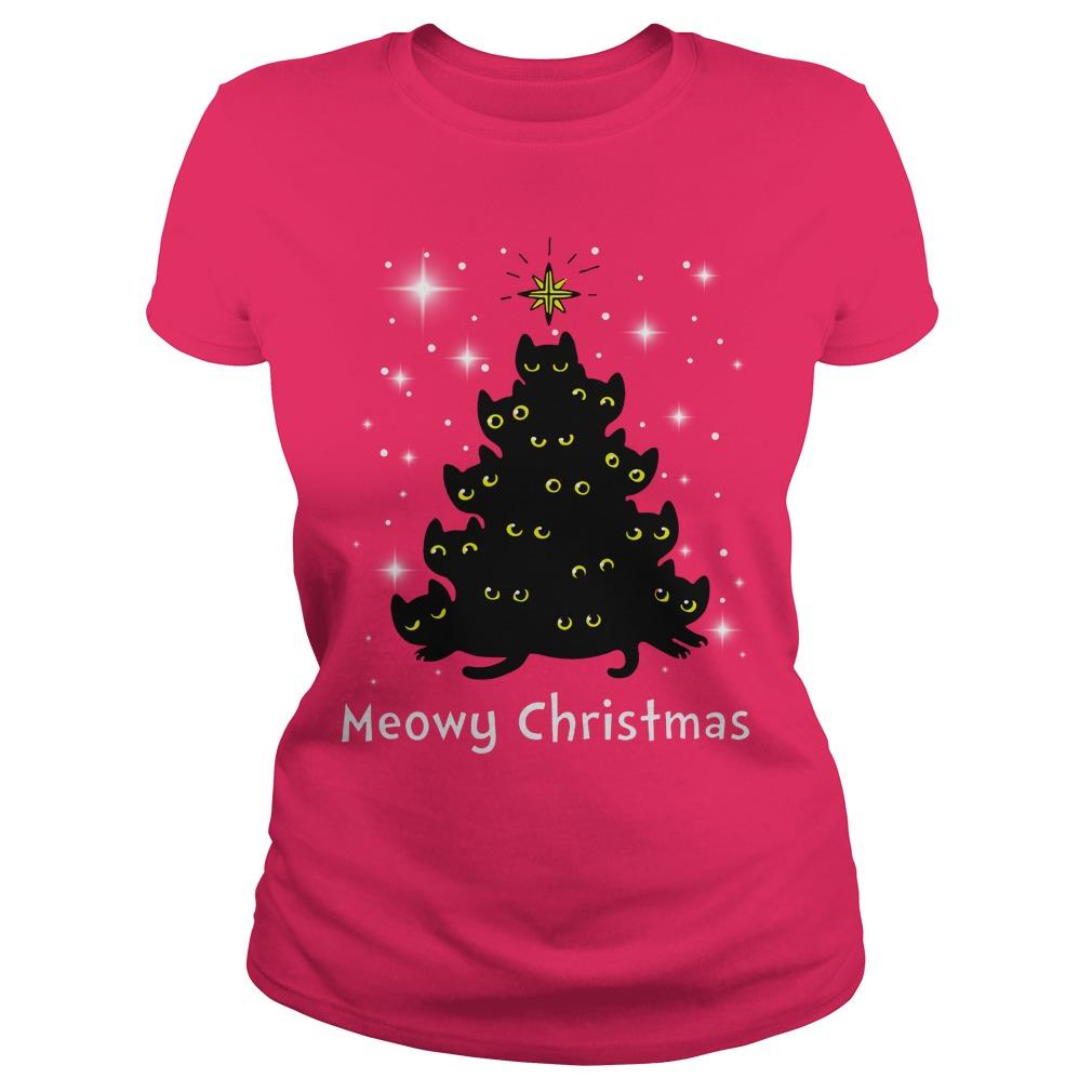 Christmas Meowy Christmas Tree Cat shirt lady tee