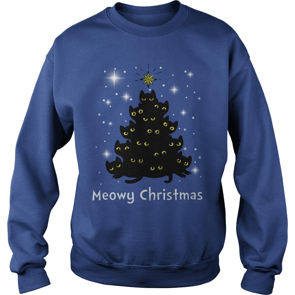 Christmas Meowy Christmas Tree Cat shirt sweat shirt