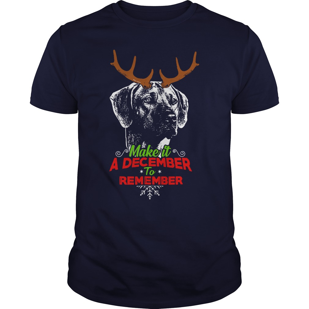 December to Remember Rhodesian Ridgeback Christmas shirt guy tee