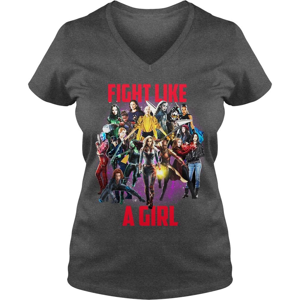 Fight like a girl Captain Marvel Girls shirt lady v-neck