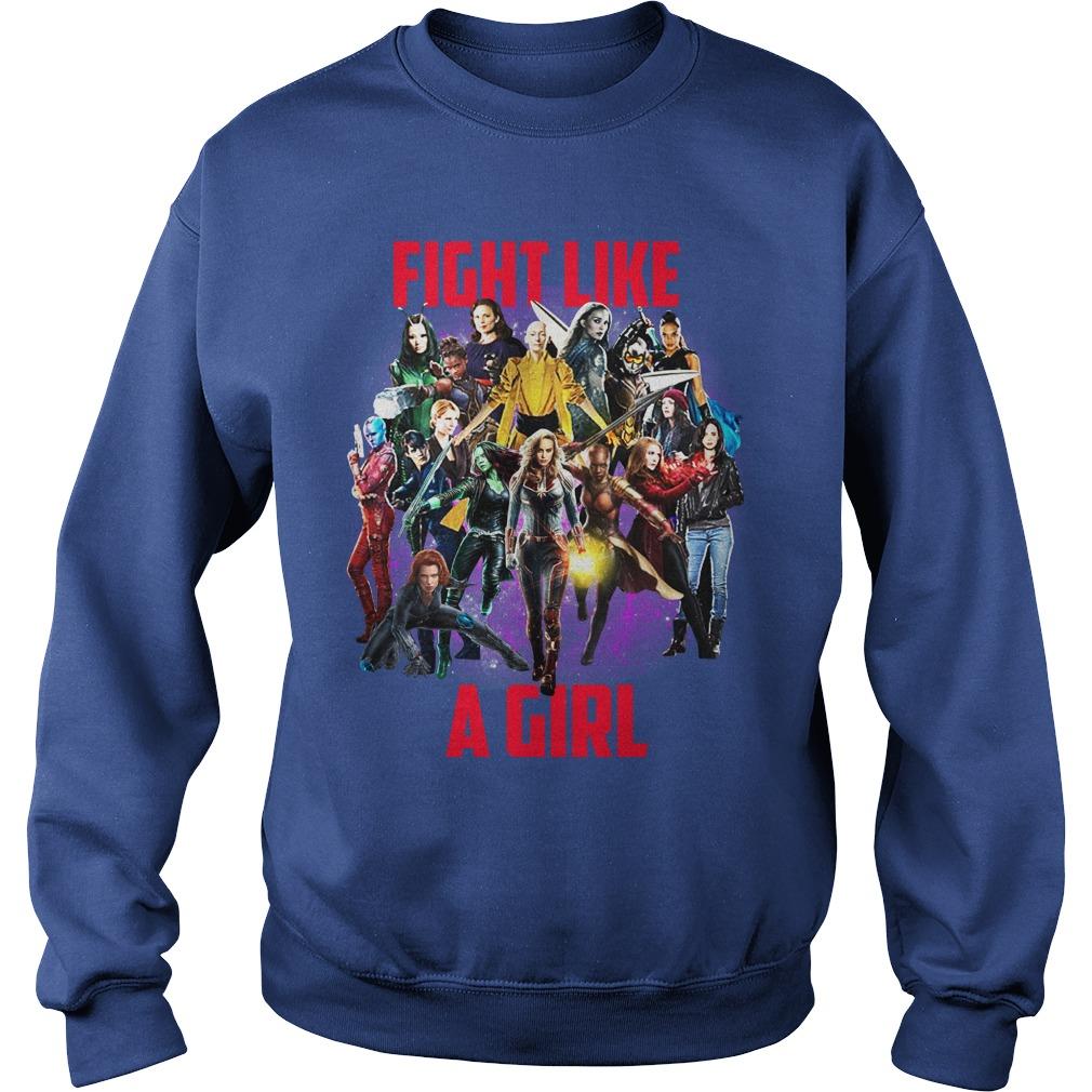 Fight like a girl Captain Marvel Girls shirt sweat shirt