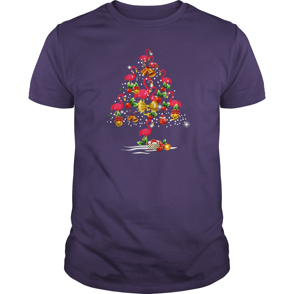 Flamingo Christmas tree shirt guy tee