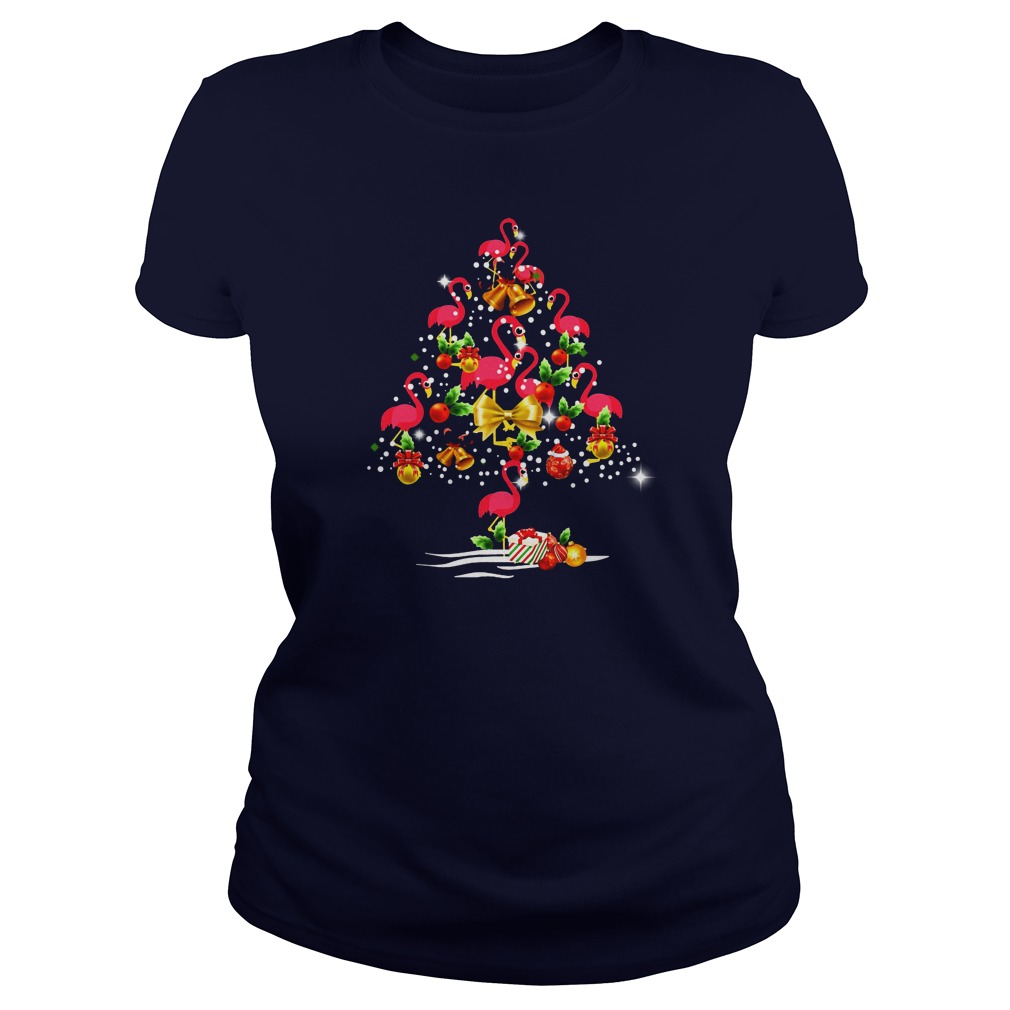 Flamingo Christmas tree shirt lady tee