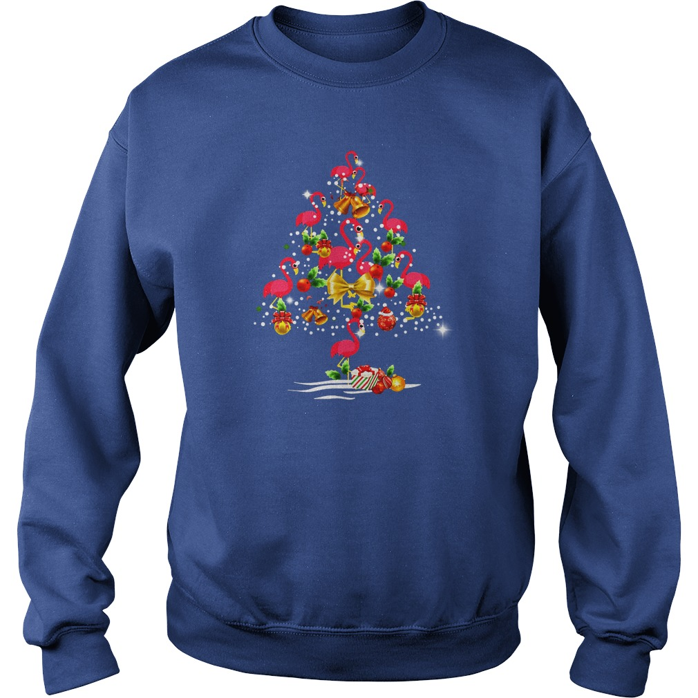 Flamingo Christmas tree shirt sweat shirt