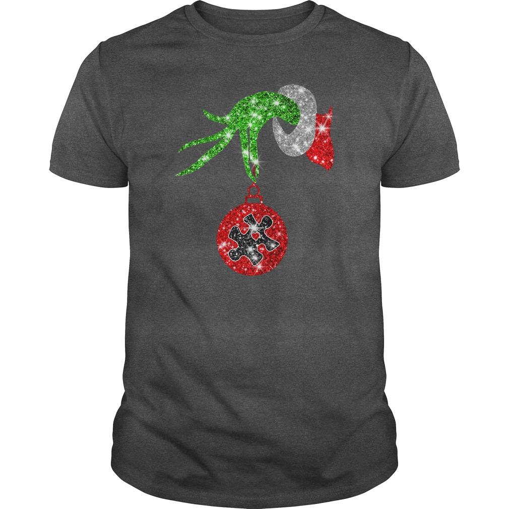 Glitter Grinch monogram ornament Autism Awareness shirt guy tee