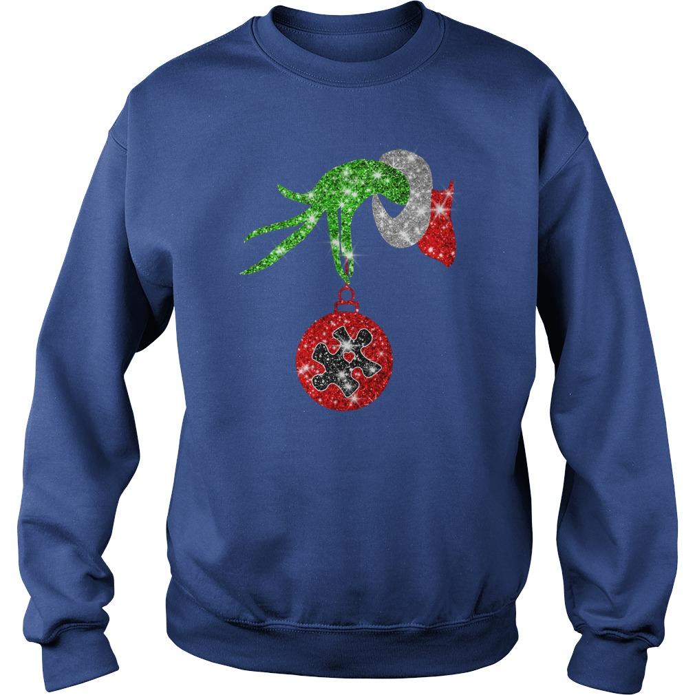 Glitter Grinch monogram ornament Autism Awareness shirt sweat shirt