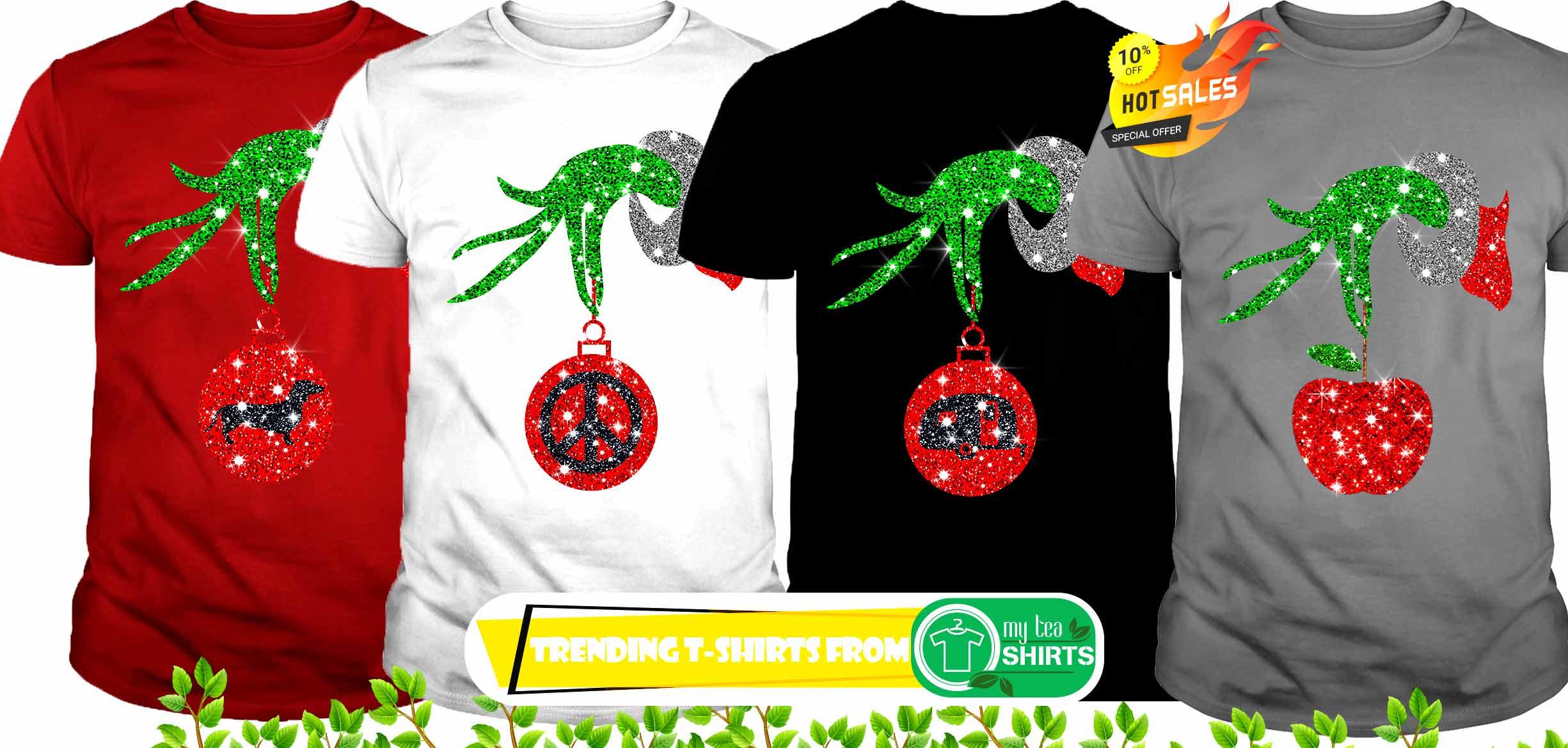 Christmas Shirt.Glitter Grinch Monogram Ornament Christmas Shirt Hoodie Guy Tee