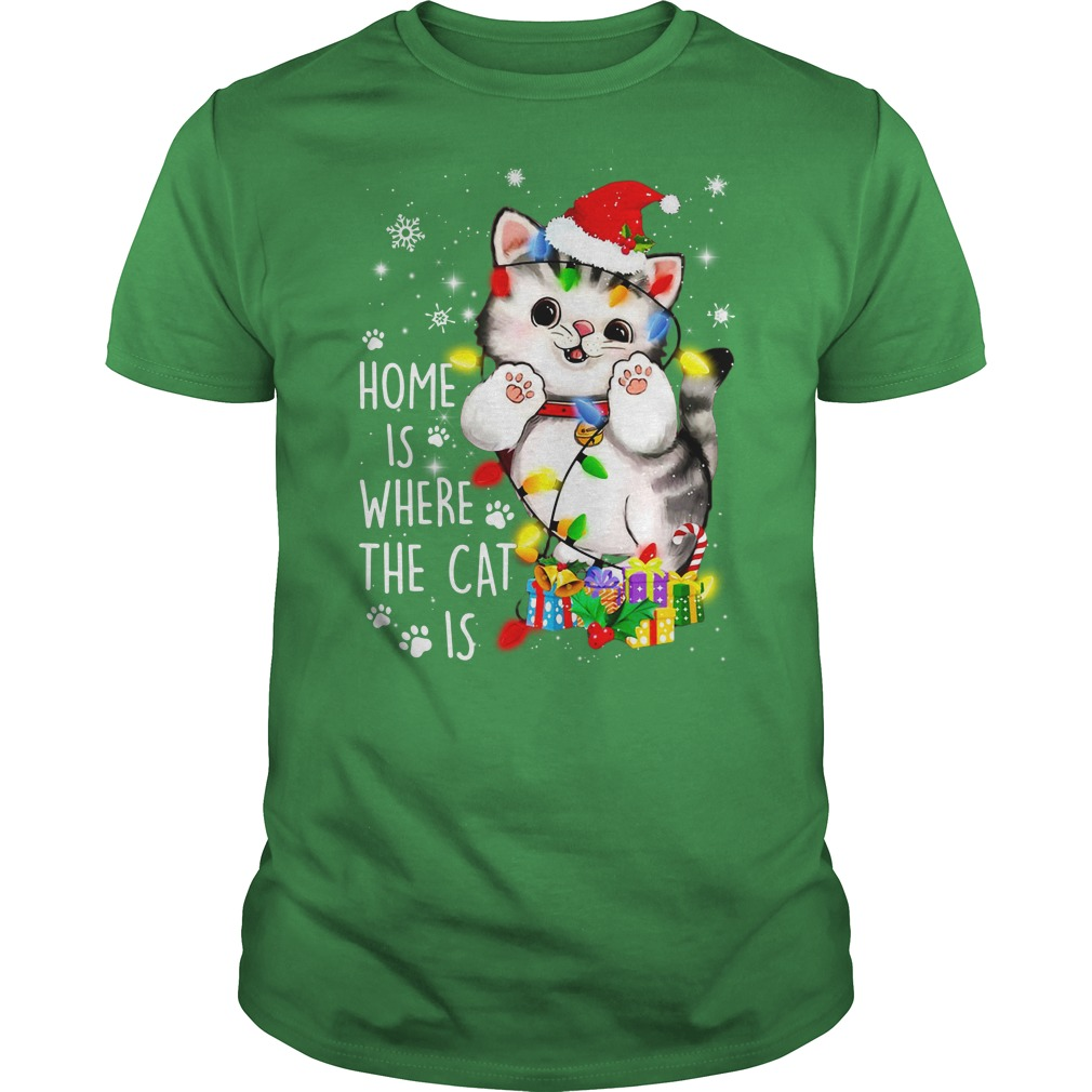 Home is where the cat is - Merry Christmas shirt guy tee