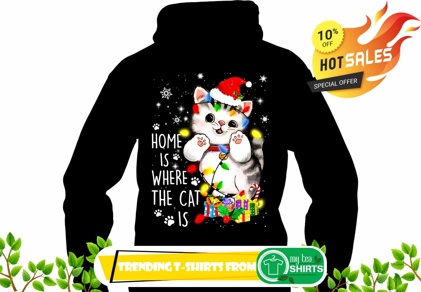 home is where the cat is merry christmas shirt