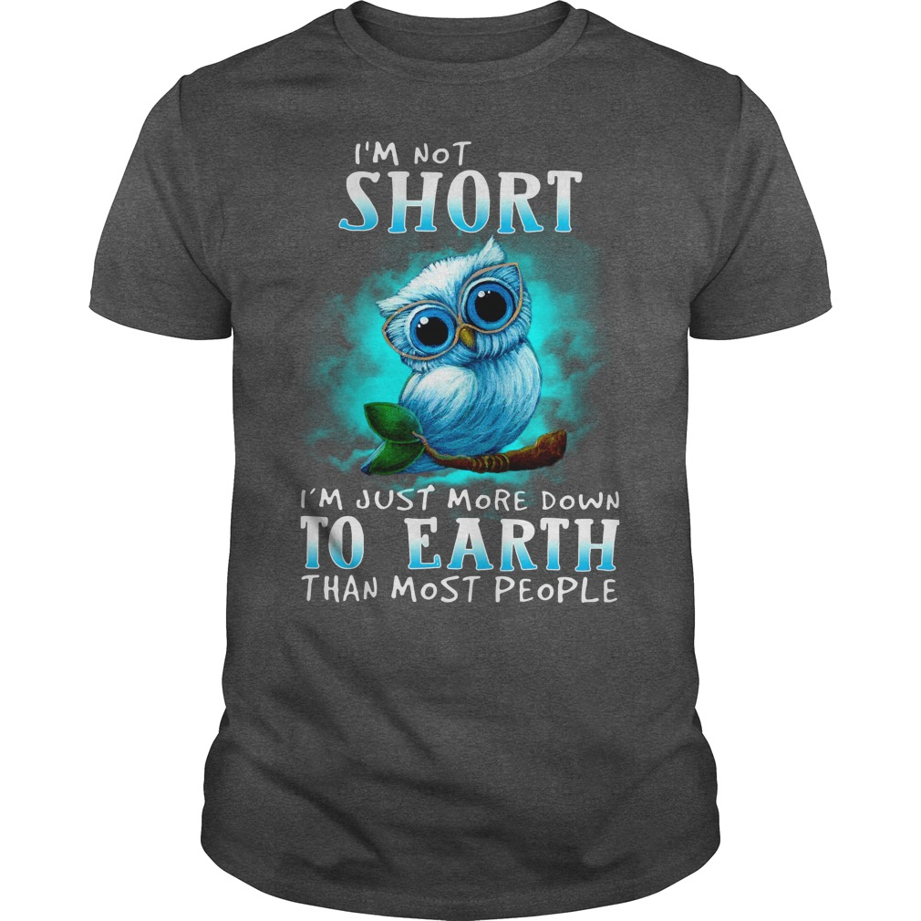 I'm not short I'm just more down to earth than most people Owl shirt guy tee