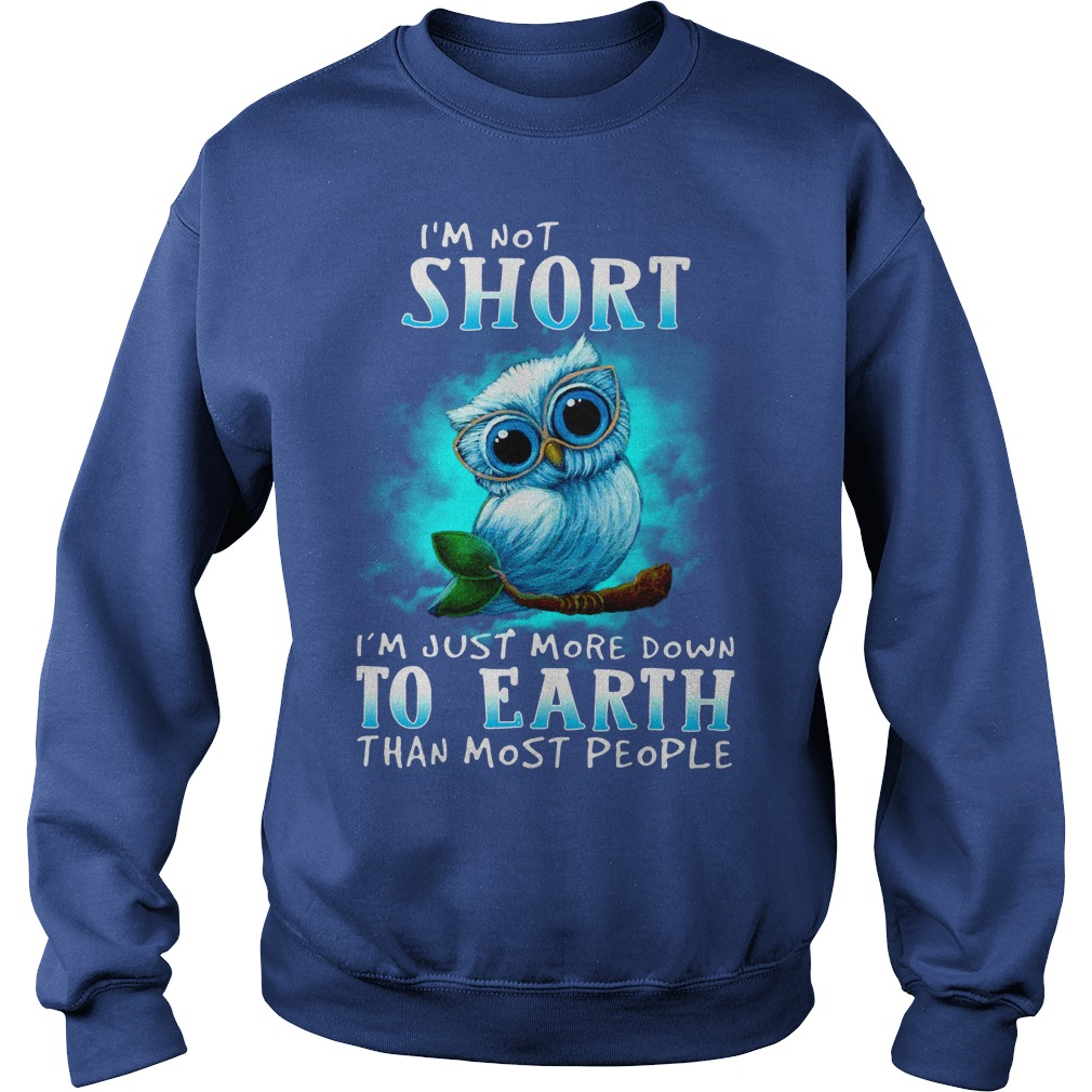 I'm not short I'm just more down to earth than most people Owl shirt sweat shirt