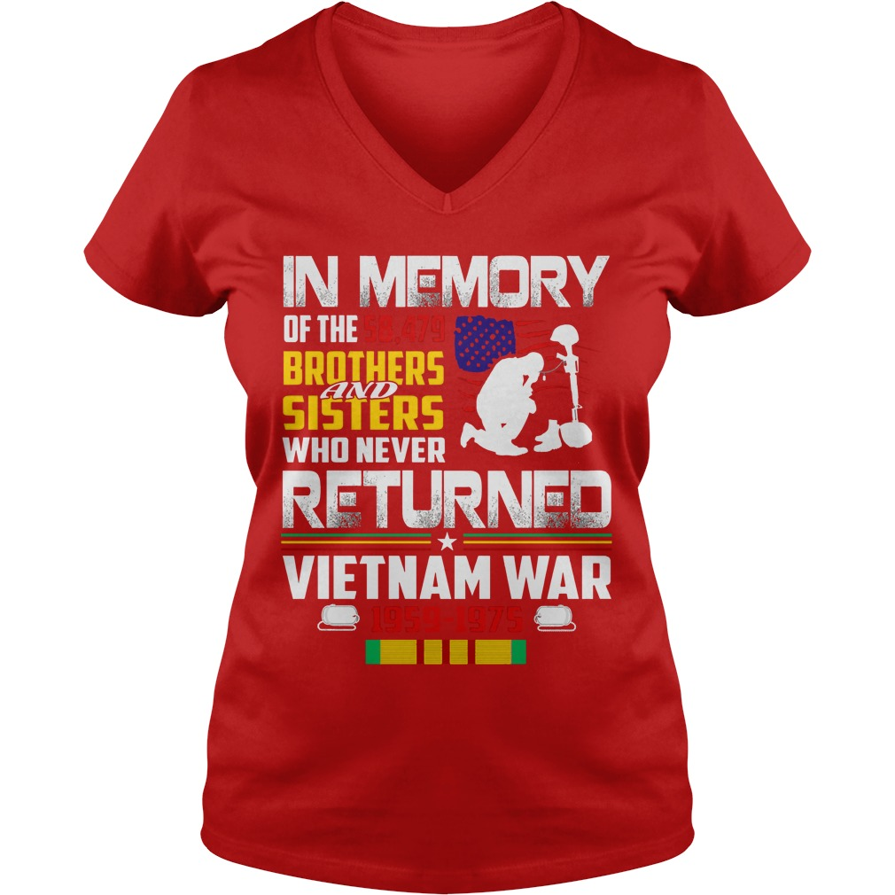 In memory of 58, 479 brothers & sisters who never returned shirt lady v-neck